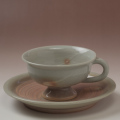 萩焼(伝統的工芸品)カップ&ソーサ刷毛姫平高付