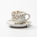 萩焼(伝統的工芸品)カップ&ソーサ鬼白特胴締線彫