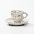 萩焼(伝統的工芸品)カップ&ソーサ鬼白松胴締線彫