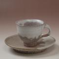 萩焼(伝統的工芸品)カップ&ソーサ白萩掛分け朝顔