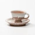 萩焼(伝統的工芸品)カップ&ソーサ白萩掛分け平高付