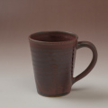 萩焼(伝統的工芸品)マグカップ鉄赤釉末広碁笥底