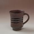 萩焼(伝統的工芸品)マグカップ鉄赤釉端反線紋
