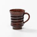 萩焼(伝統的工芸品)マグカップ鉄赤釉荒端反線紋