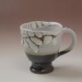 萩焼(伝統的工芸品)マグカップ掛分け(鬼白松&黒釉)呉器