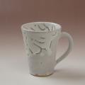 萩焼(伝統的工芸品)マグカップ鬼白竹末広碁笥底