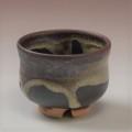 萩焼(伝統的工芸品)ぐい呑鉄掛分け(黒釉&わら)胴締