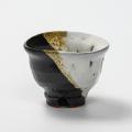 萩焼(伝統的工芸品)ぐい呑掛分け(鬼白竹&黒釉)井戸形猪口