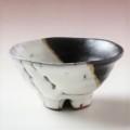 萩焼(伝統的工芸品)盃掛分け(鬼白松&黒釉)丸