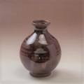 萩焼(伝統的工芸品)徳利鉄赤釉丸えくぼ