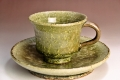 萩焼(伝統的工芸品)カップ&ソーサ緑星釉端反