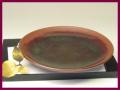 萩焼(伝統的工芸品)平皿鉄赤釉丸