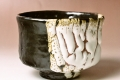 萩焼(伝統的工芸品)抹茶碗掛分け鬼白黒釉半筒壱番