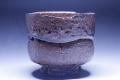 萩焼(伝統的工芸品)抹茶碗鉄赤釉荒半筒筆洗形線彫