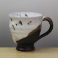 萩焼(伝統的工芸品)マグカップ掛分け(鬼白竹&黒釉)呉器