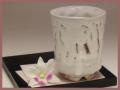 萩焼(伝統的工芸品)大湯呑鬼白端反えくぼ桜高台