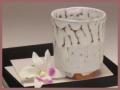 萩焼(伝統的工芸品)湯呑鬼白筒線彫