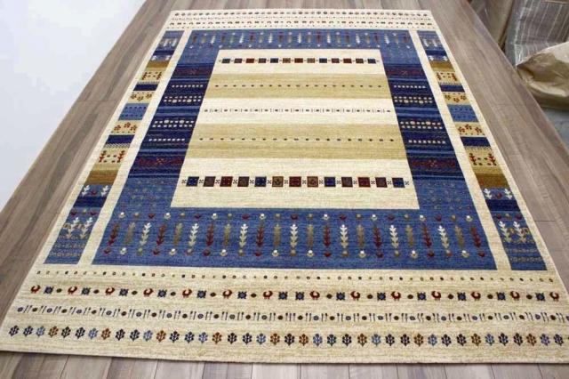 ギャッベ  カーペット 4畳 3畳 ラグ ギャベ 絨毯 おしゃれ ウィルトン織 じゅうたん 厚手 送料無料 四畳 青 ブルー レッド 赤  【品名 LAPAZ-4015】 約4畳 200x290cm