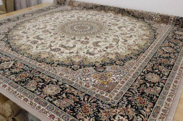 現品最終プライス 極美品 イラン製最 高級 70万ノット アクリル100% ウィルトン織り 絨毯 カーペット 【品名 サイード】 約4.5畳 250×250cm