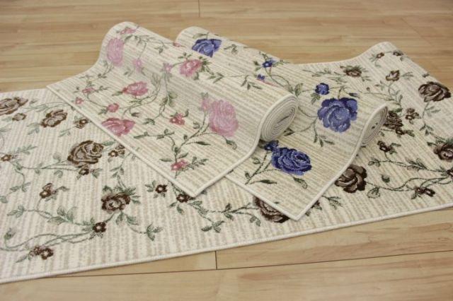 日本製 花柄デザイン ≪廊下敷き≫ 滑り止め加工 良質 カーペット 絨毯 【品名 エリス】 幅80×長さ440cm