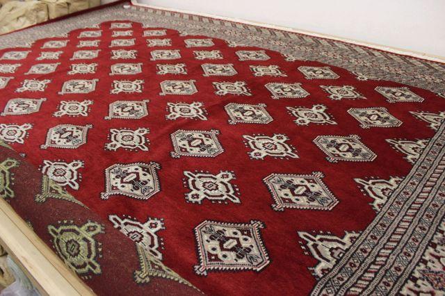 カーペット 3畳 絨毯 パキスタン製 ウール 手織り 緞通 レッド 赤 現品限り 【品名 PAKISTAN】 約3畳 約152×244cm