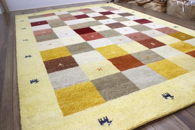 ギャッベ  4畳 3畳 ラグ 絨毯 インド製 ウール 手織り ギャベ  マット カーペット じゅうたん 厚手 【品名 ギャベ手織り 柄コミ】 約4畳 約190×295cm
