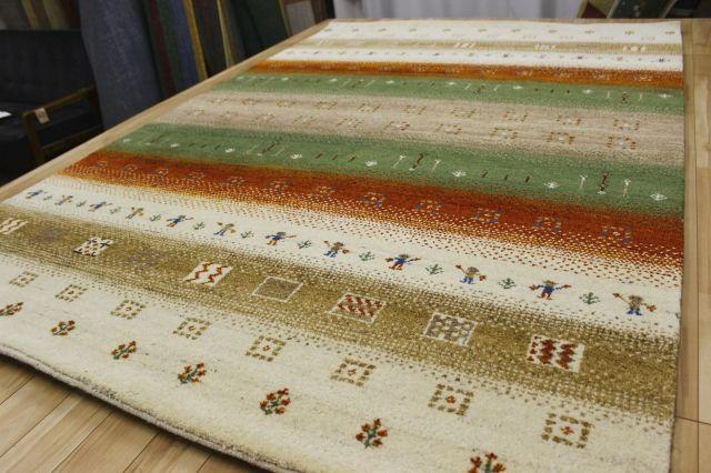激安 3畳 ギャッベ 絨毯 インド製 ウール緞通 ギャベ ラグ マット カーペット 厚手 【品名 ギャベ緞通 Sグレード】 約3畳 約168×245cm