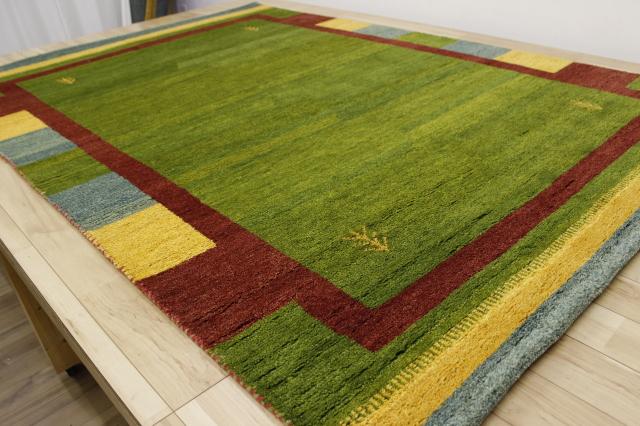 激安 3畳 ギャッベ 絨毯 インド製 ウール緞通 ギャベ ラグ マット カーペット 安い 厚手 【品名 ギャベ手織り緞通】 約3畳 約170×240cm