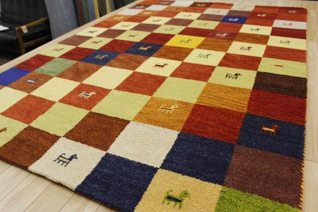 激安 3畳 ギャッベ 絨毯 インド製 ウール緞通 ギャベ ラグ マット カーペット 安い 厚手 【品名 ギャベ手織り緞通 3】 約3畳 約170×240cm