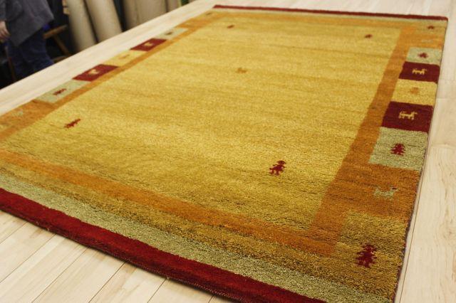 激安 ギャッベ 絨毯 インド製 ウール緞通 ギャベ ラグ マット カーペット 安い 厚手 【品名 ギャベ手織り緞通】 約1.5畳 約140×200cm