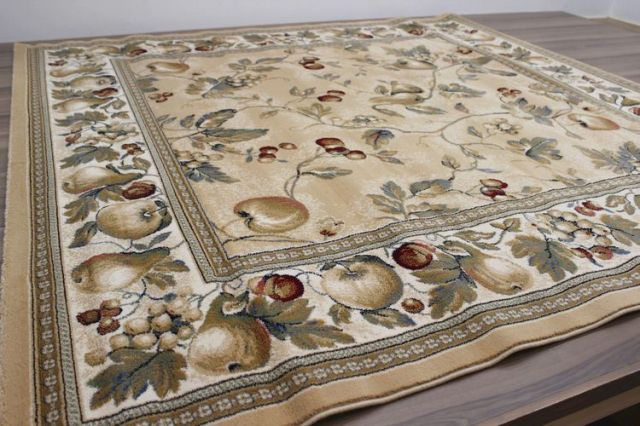 緊急大幅値下げ品!ベルギー製 6畳 カーペット ウィルトン織り じゅうたん 絨毯  【品名 フルーツエリザベス】 約6畳 240×340cm