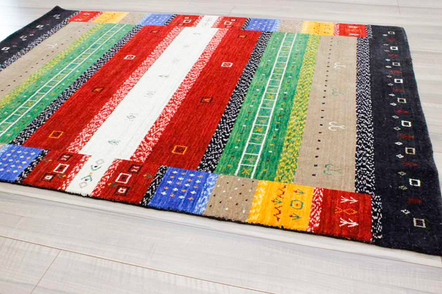 驚異的安さ!ギャッベ 絨毯 インド製 ウール緞通 ギャベ ラグ マット カーペット 厚手 【品名 ペルシャデザイン】 約1.5畳 約144×208cm