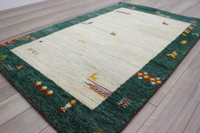 ギャベ  1.5畳 ギャッベ 絨毯 インド製 ウール緞通 ラグ マット カーペット 厚手 【品名 訳あり品 ギャベ緞通】 120×187
