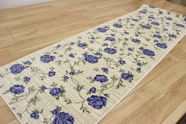 《在庫限り》 日本製 花柄デザイン ≪廊下敷き≫ 滑り止め加工 良質 カーペット 絨毯 【品名 現品限り エリス】 幅67×長さ250cm