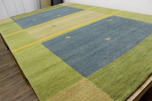 激安 4畳 ギャッベ 絨毯 インド製 ウール緞通 ギャベ ラグ マット カーペット 厚手 【品名 ギャベ手織り緞通】 約4畳 約190×298cm