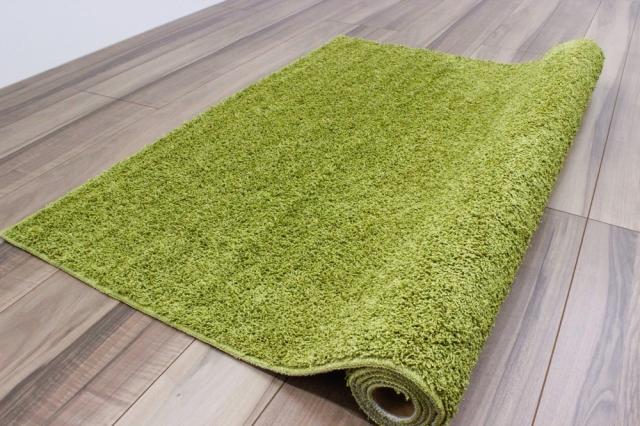 サンプル品 アウトレット シャギーラグ 3畳 ラグ 防音 カーペット 絨毯 リビング 子供部屋 無地 シンプル カジュアル 緑 白 ラグマット  【品名 現品/リッチ】 約3畳 190×240cm