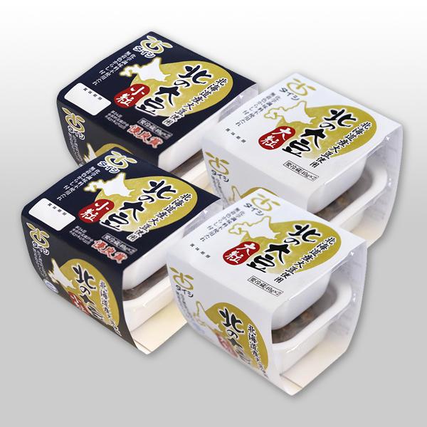 【定期購入】北の大豆 納豆 大粒小粒セット 2個パック×各2セット(たれ・からし付)