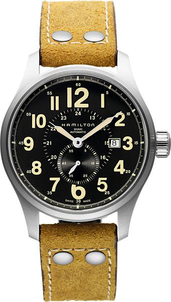HAMILTON  ハミルトン 腕時計 カーキ オフィサーオート ブラウンヌバックストラップH70655733 国内正規品