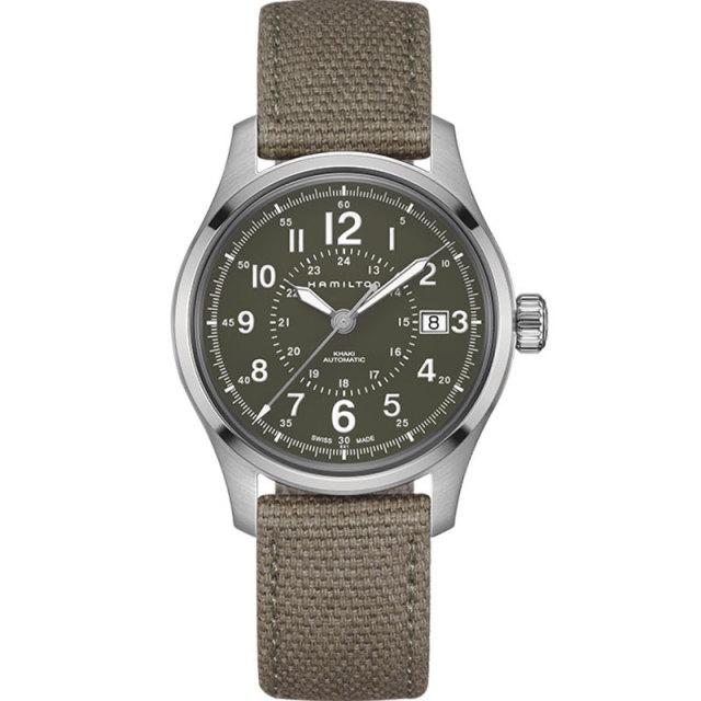 HAMILTON ハミルトン 腕時計 カーキフィールドオート40mm グリーンキャンバスストラップ H70595963 国内正規品