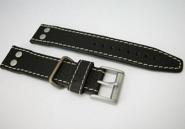 ハミルトン カーキパイオニア腕時計用ダークブラウンカーフベルト