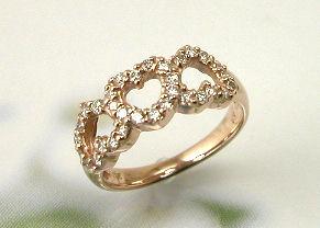 ピンクゴールド ダイヤモンド3ハートピンキーリング