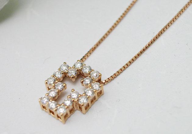ダイヤモンド K18ピンクゴールド クロスデザインペンダントネックレス