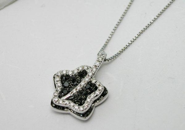 ブラックダイヤモンドペンダントネックレス