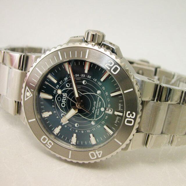 オリス 腕時計 ダットワット リミテッドエディション ポインタームーン アクイスデイト SSブレスレット自動巻き ステンレス  国内正規品