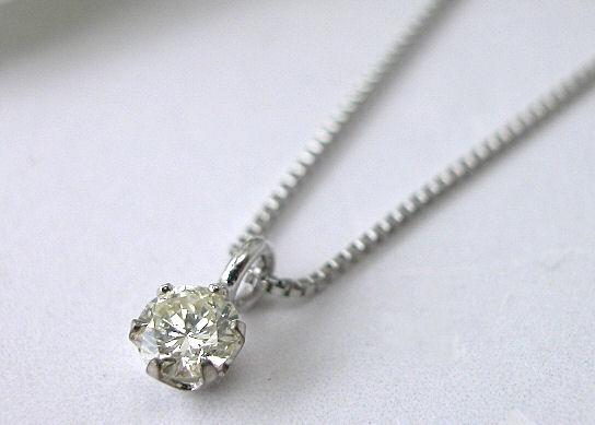 プラチナダイヤモンドペンダントネックレス0.12ctソリティアタイプ