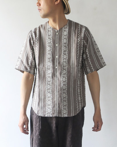HAVERSACK ハバーサック Linen Embroidery エンブロタリーノーカラーシャツ