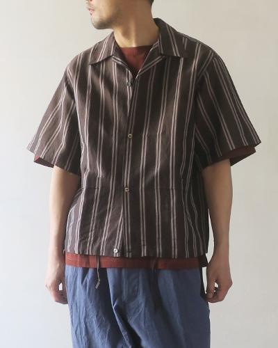 HAVERSACK ハバーサック 強撚ストライプ半袖シャツ