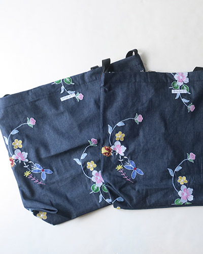 Engineered Garments エンジニアドガーメンツ Carry All Tote - Denim Floral Embroidery キャリートート デニム