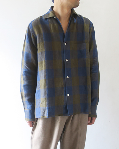 Needles ニードルズ Cut-Off Bottom Italian Collar Shirt - Linen Cloth / Gingham Plaid イタリアンカラーシャツ リネン ギンガム
