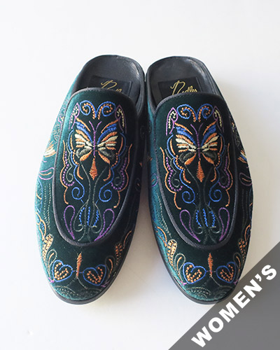 Needles ニードルズ Velvet Mule - Papillon Embroidery ベルベット ミュール パピヨン
